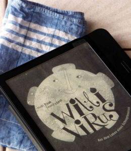 """Buchumschlag von """"Willi Virus"""" auf einem E-Book Reader"""