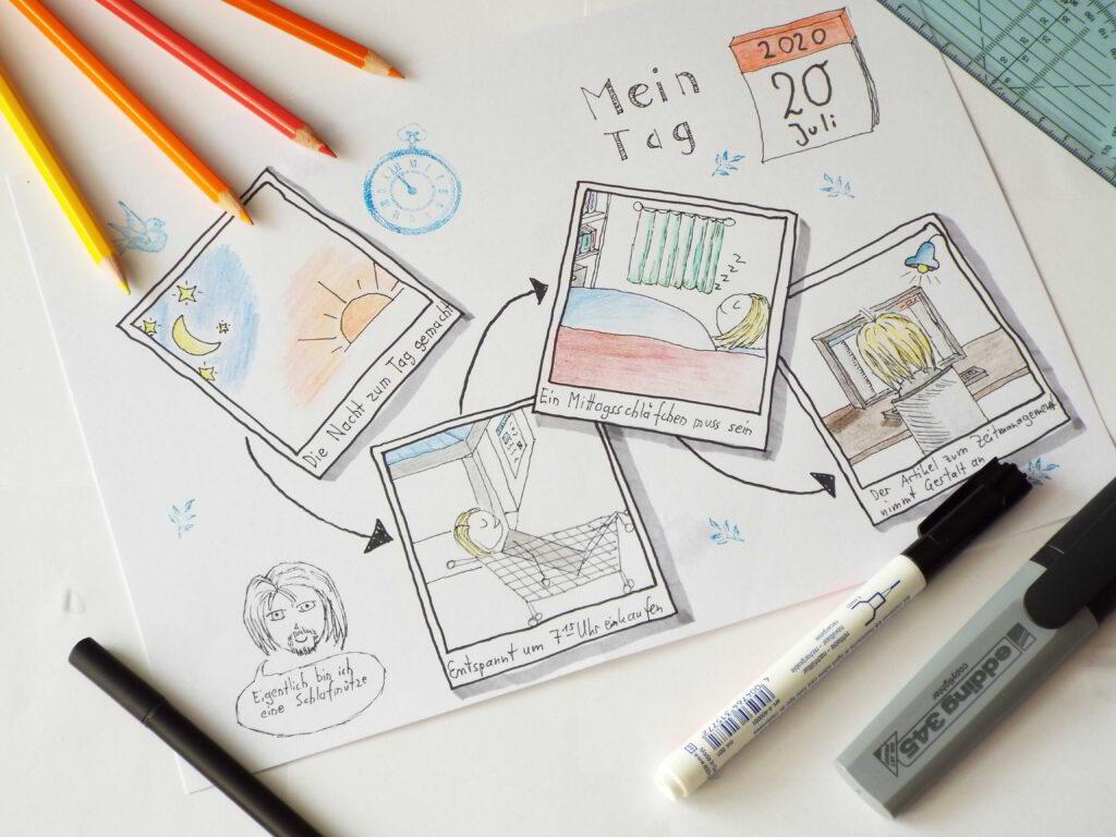 Ein Tag dargestellt als Aneinanderreihung von Fotos, inspiriert durch Sketch Your Day Challenges