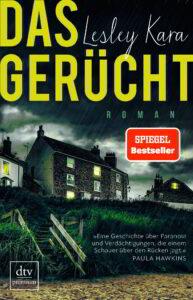 Buchumschlag: Das Gerücht. Englische Häuser stehen an einem Deich. Es regnet.