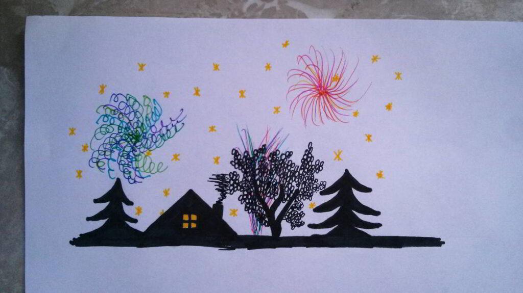 Zeichnung Feuerwerk 2020